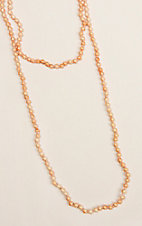 Ashlyn & Rose Peach and Orange Beaded 60 inch Layering Necklace