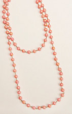 Ashlyn & Rose Orange and Peach Beaded 45 inch Chain Layering Necklace