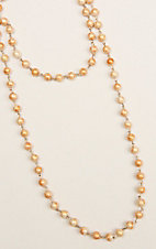 Ashlyn & Rose Peach and Orange Beaded 45 inch Chain Layering Necklace