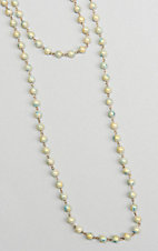 Ashlyn & Rose Cream and Blue Beaded 45 inch Chain Layering Necklace