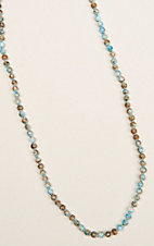 Ashlyn & Rose Light Blue and Brown Marble Beaded 32 inch Chain Necklace