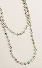 Ashlyn & Rose Light Blue and Brown Marble Beaded 45 inch Chain Layering Necklace