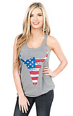Next Level Women's Grey with American Flag Print Skull Screen Print Sleeveless Casual Knit Top