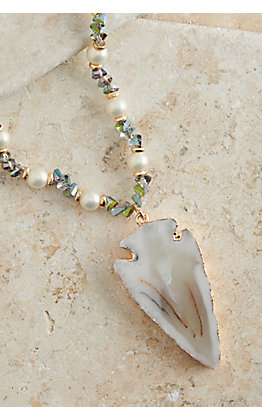 Ashlyn Rose Blue and Pearl Beads with Arrowhead Pendant Long Necklace