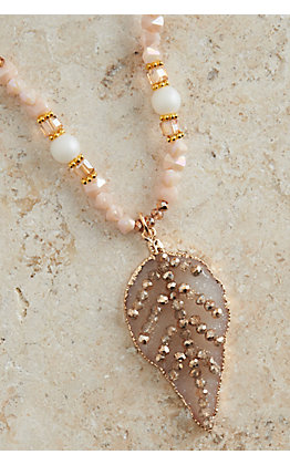 Ashlyn Rose Blush Pink and Gold Beads with Druzy Leaf Pendant Long Necklace