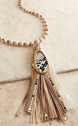 Ashlyn Rose Wooden Beads with Snake Pendant and Fabric Tassel Necklace
