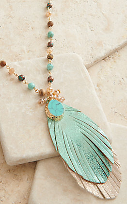 Ashlyn Rose Light As A Feather Turquoise Charm and Feather Pendant Beaded Necklace