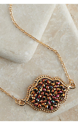 Ashlyn Rose Gold with Multi Colored Beads Pendant Necklace