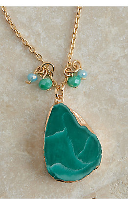Ashlyn Rose Gold with Turquoise Stone Pendant Necklace