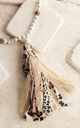 Ashlyn Rose Fabric Tassel with Leopard and Pearl Beaded Necklace