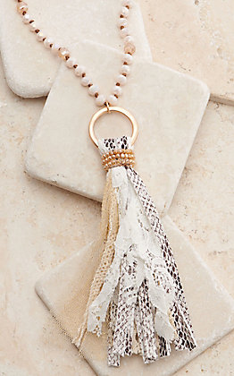 Ashlyn Rose Shiny Cream Beads with Snakeskin and Lace Tassel