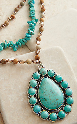 Ashlyn Rose Turquoise and Brown with Teardrop Pendant Beaded Necklace