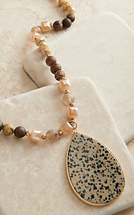 Ashlyn Rose Natural Beaded with Spotted Pendant Necklace