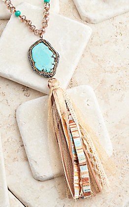 Ashlyn Rose Turquoise Pendant With Brown and Turquoise Beads and Fabric Tassel