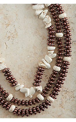 Ashlyn Rose Copper Beads and Cream Stones Triple Layer Necklace
