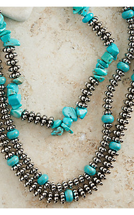 Ashlyn Rose Silver Beads and Turquoise Stones Triple Layer Necklace
