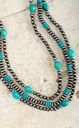Ashlyn Rose Silver and Turquoise Triple Strand Necklace