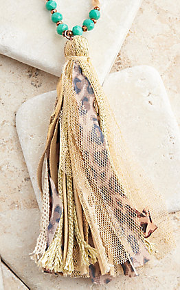 Ashlyn Rose Fabric Tassel and Brown Crystal With Turquoise and Cream Bead Necklace
