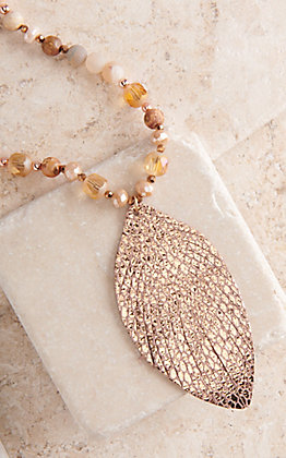 Ashlyn Rose Nature's Rhythm Rose Gold Snakeskin Fringe Pendant Necklace