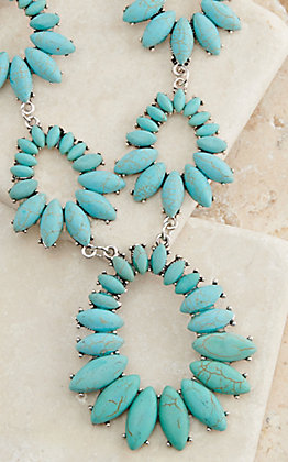 Ashlyn Rose Silver with Multi Turquoise Teardrops Necklace