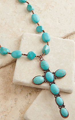 Ashlyn Rose Bronze and Turquoise Stone Chunky Cross Necklace