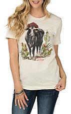 XOXO Art & Co. Natural Angus Diva Short Sleeve Casual Knit Tee