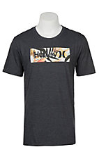 Hurley Men's One & Only Black Heather Tropics Logo Short Sleeve Tee