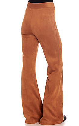 Rockin C Women's Camel Faux Sueded Flare Leg Pants