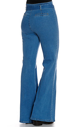 A. Calin Women's Light Wash with Center Seam and Belt Flare Leg Jeans
