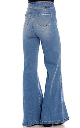 Rockin C Women's Medium Wash Center Seam High Waist Flare Leg Jeans