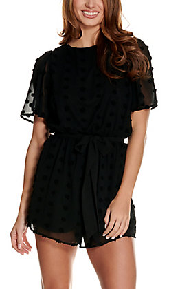 A. Calin Women's Black Pom Pom Short Flutter Sleeves Romper