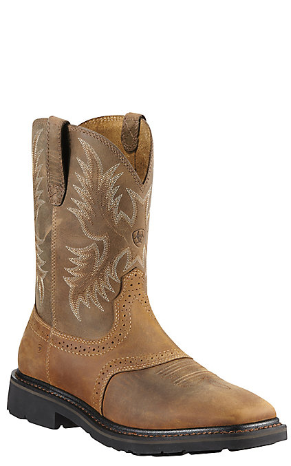 a010a2bf618 Ariat Sierra Men's Aged Bark Wide Square Steel Toe Pull On Western Work  Boots