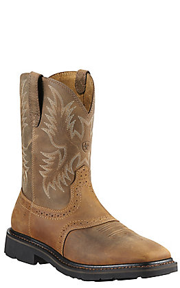Ariat Sierra Men's Aged Bark Wide Square Steel Toe Pull On Western Work Boots
