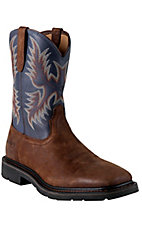 Ariat Sierra Men's Brown Russet w/ Blue Top Square Toe Pull On Western Work Boots