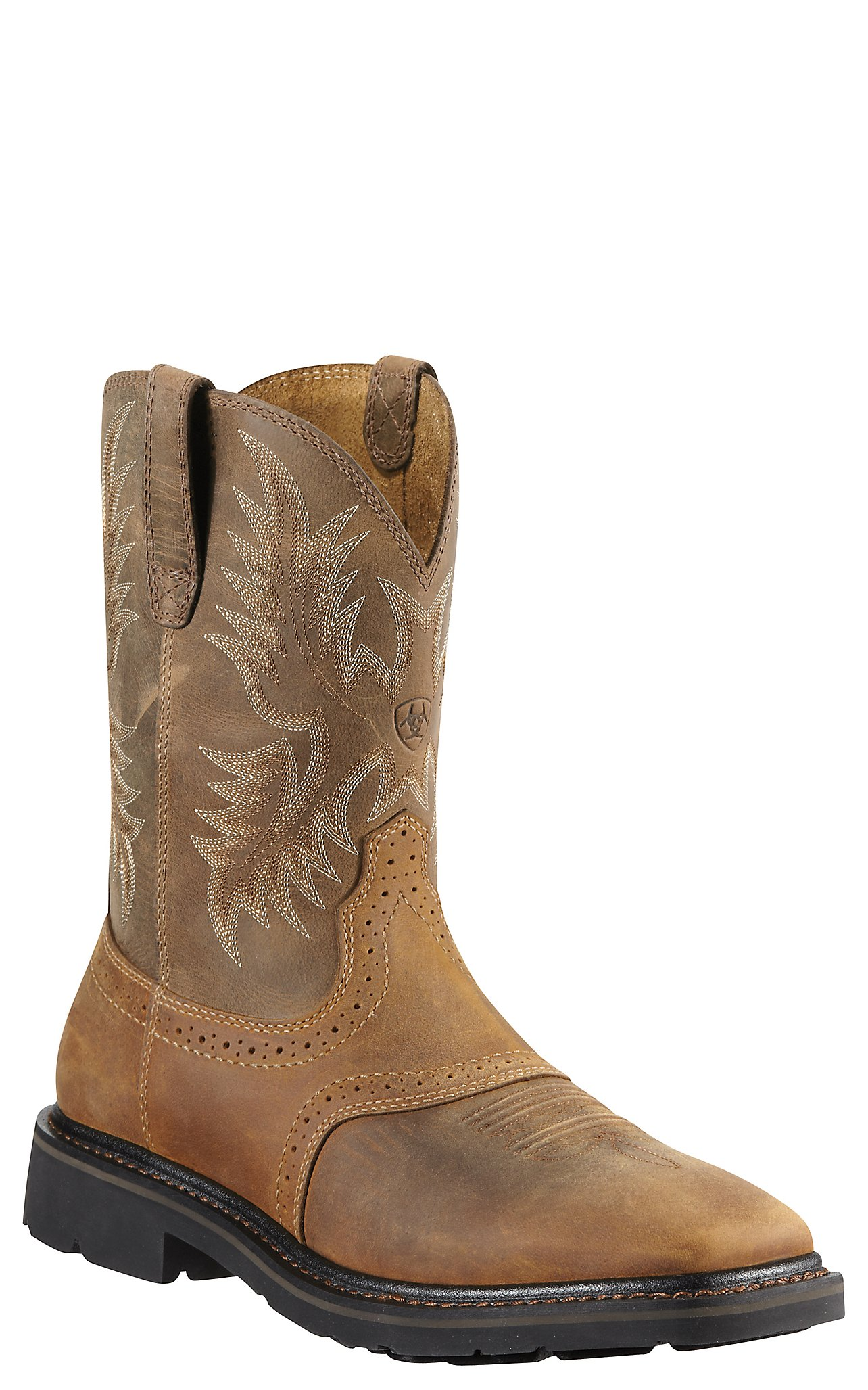 Ariat Sierra Men's Aged Bark Wide Square Toe Pull On Western Work ...