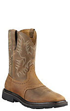 Ariat Sierra Men's Aged Bark Wide Square Toe Pull On Western Work Boots