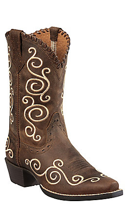 1e078183876 Ariat Shelleen Youth Distressed Brown with Cream Embroidery Snip Toe  Western Boots