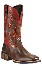 Ariat Nighthawk Men's Thunder Brown w/ Red Top Double Welt Square Toe Western Boot