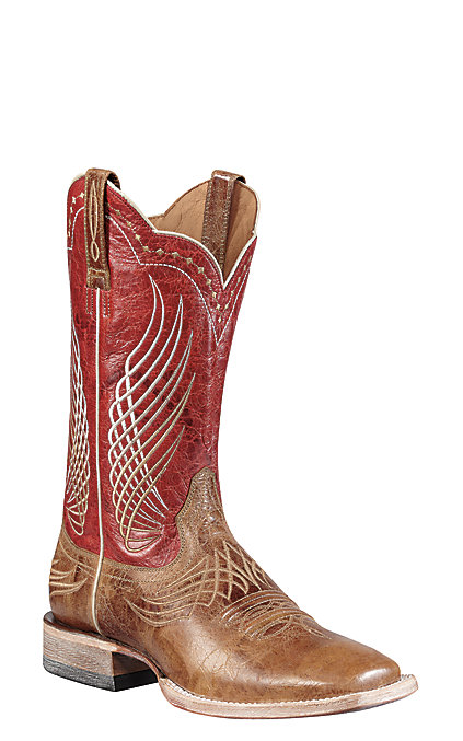 ff0700ab6d8 Ariat Mecate Wildhorse Men's Tan and Red Wide Square Toe Western Boots