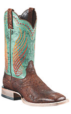 Ariat Mecate Men's Bunkhouse Brown w/ Teal Top Triple Welt Square Toe Western Boots