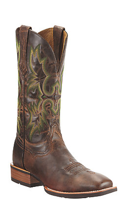 Ariat Men's Tombstone Weathered Chestnut Brown Square Toe Western Boot