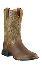 Ariat Heritage Horseman Men's Distressed Brown with Army Green Western Boots