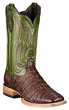 Ariat Nitro Mens Roughed Tobacco Caiman Belly w/ Neon Lime Top Double Welt Square Toe Exotic Western Boot