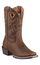 Ariat Charger Youth Distressed Brown Square Toe Western Boots