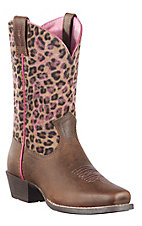 Ariat Legend Children's Distressed Brown w/ Leopard Print Top Square Toe Boots