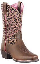 Ariat Legend Youth Distressed Brown w/ Leopard Print Top Square Toe Boots