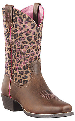 Ariat Legend Youth Distressed Brown with Leopard Print Top Square Toe Boots