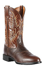 Ariat Heritage Stockman Men's Washed Brown Vintage Cedar Round Toe Western Boots
