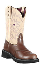 Ariat Probaby Women's Earth Brown w/ Cream Top Round Toe Western Boot