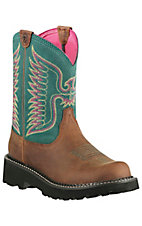 Ariat Fatbaby Women's Powder Brown w/ Teal Thunderbird Upper Western Boots